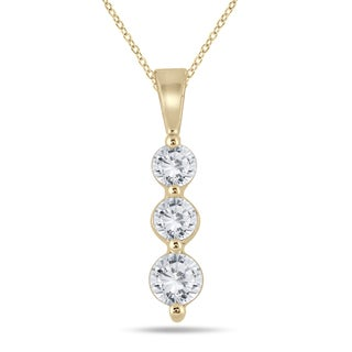 Marquee Jewels 10k Yellow Gold 1/2ct TDW Diamond 3-stone Graduated Pendant (I-J, I2-I3)