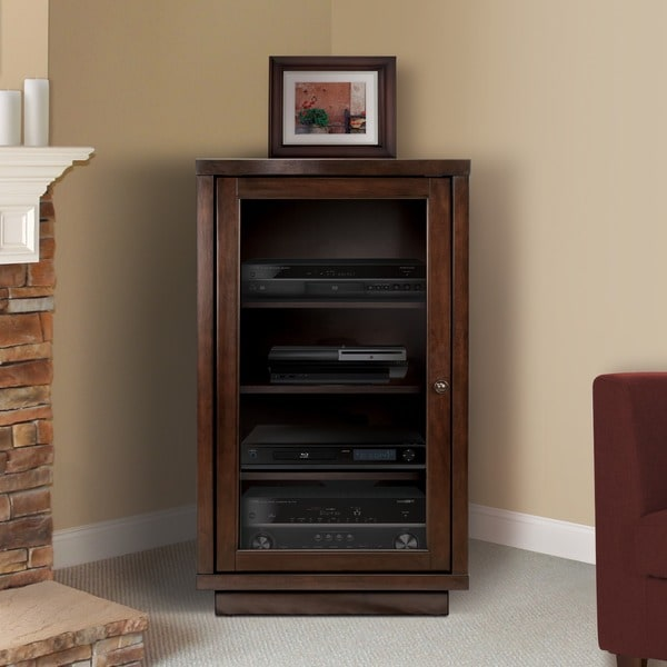 Bellu0026#x27;O AV Component Cabinet With Adjustable Shelves, Dark Espresso
