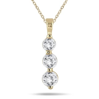 Marquee Jewels 14k Yellow Gold 1ct TDW Diamond Graduated 3-stone Pendant (I-J, I2-I3)