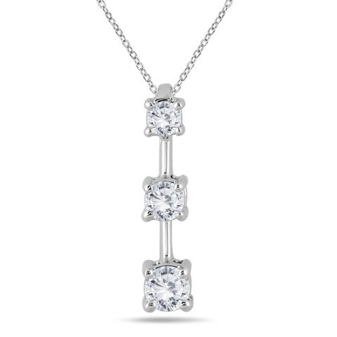 Marquee Jewels 10k White Gold 1/2ct TDW Diamond Graduated 3-stone Drop Pendant