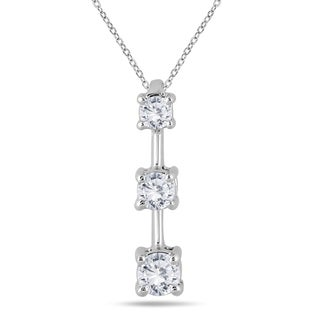 Marquee Jewels 10k White Gold 1/2ct TDW Diamond Graduated 3-stone Drop Pendant