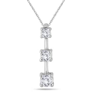 Three stone diamond necklaces for less overstock marquee jewels 10k white gold 12ct tdw diamond graduated 3 stone drop pendant aloadofball Image collections