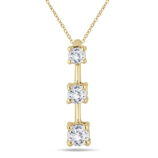 Marquee Jewels 10k Yellow Gold 1/2ct TDW Diamond Graduated 3-stone Drop Pendant (I-J, I2-I3)
