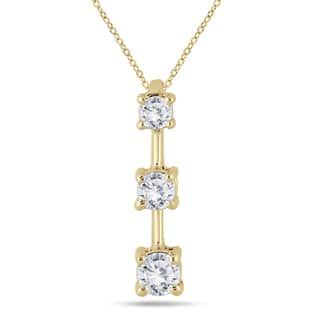Buy three stone diamond necklaces online at overstock our best marquee jewels 10k yellow gold 12ct tdw diamond graduated 3 stone drop pendant aloadofball Choice Image