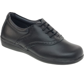 Academie Gear Girls' Schoolmate Black Leather Shoes