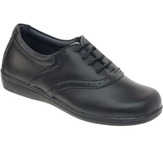 Academie Gear Girls' Schoolmate Black Leather Shoes (2 options available)