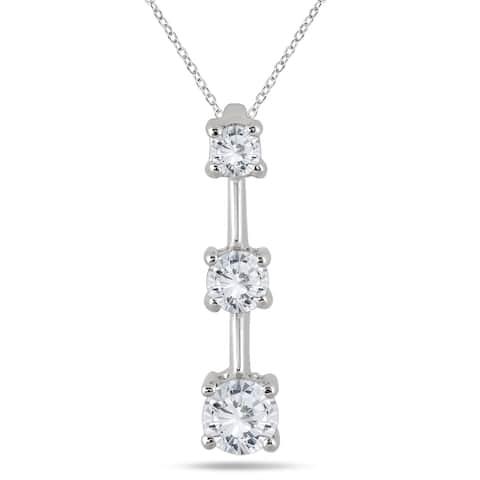 Marquee Jewels 14k White Gold 1ct TDW Diamond Graduated 3-stone Drop Pendant