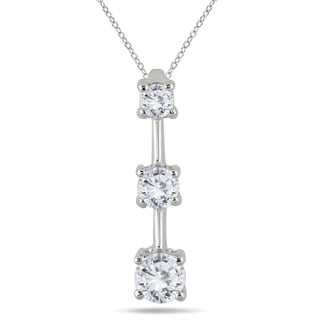Marquee Jewels 14k White Gold 1ct TDW Diamond Graduated 3-stone Drop Pendant (I-J, I2-I3)