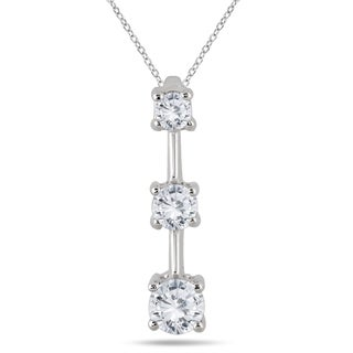 Marquee Jewels 14k White Gold 1ct TDW Diamond Graduated 3-stone Drop Pendant