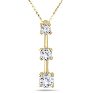 Marquee Jewels 14k Yellow Gold 1ct TDW Diamond Graduated 3-stone Drop Pendant