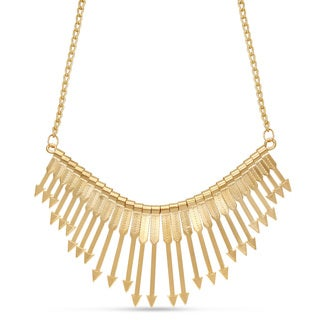 Gold Over Brass Arrow Bib Necklace