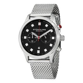 Stuhrling Original Men's Victory Elite Quartz Chronograph Stainless Steel Mesh Bracelet Watch - silver