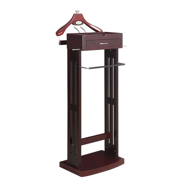 Norstar Brown-Finished Valet Stand w/ Satin Nickel Hardware