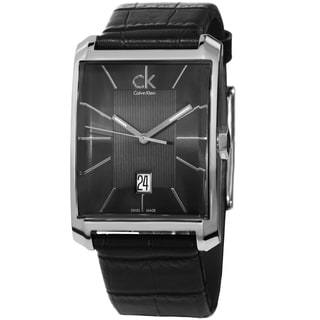 Calvin Klein Men's K2M21107 'Window' Grey Dial Black Leather Strap Swiss Quartz Watch
