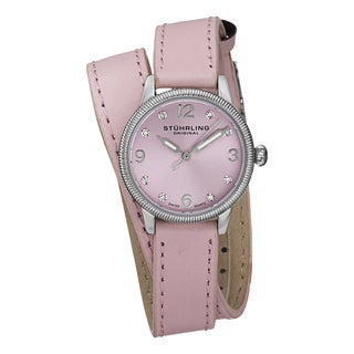 Stuhrling Original Women's Vogue Swiss Quartz Austrian Crystal Double Wrap Leather Strap Watch - PInk