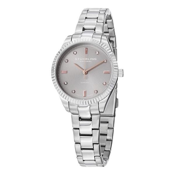 Stuhrling Original Women's Allure Swiss Quartz Diamond Stainless Steel Bracelet Watch - silver