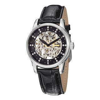 Stuhrling Original Women's Stella Automatic Austrian Crystal Leather Strap Watch