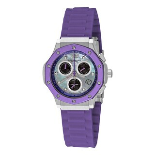 Stuhrling Original Women's Cosmo Girl Quartz Chronograph Rubber Strap Watch - PURPLE