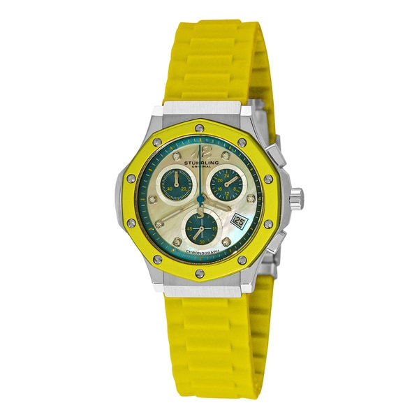 Stuhrling Original Women's Cosmo Girl Quartz Chronograph Rubber Strap Watch - silver