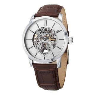 Stuhrling Original Men's Delphi Mechanical Leather Strap Watch - brown