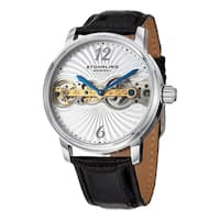 Stuhrling Original Men's Doppler Mechanical Leather Strap Watch - Black
