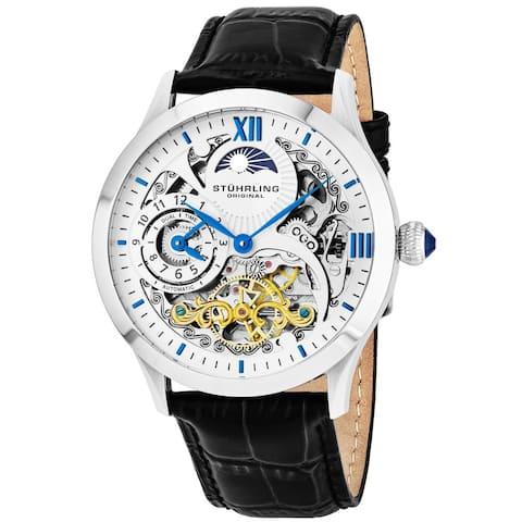 Stuhrling Original Men's Special Reserve Automatic Leather Strap Watch - black