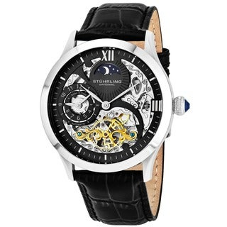 Stuhrling Original Men's Special Reserve Automatic Leather Strap Watch - black