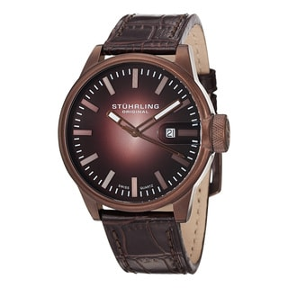 Stuhrling Original Men's Concorso Metron Swiss Quartz Leather Strap Watch