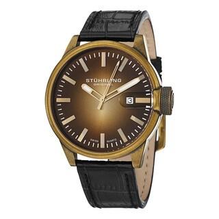 Stuhrling Original Men's Concorso Metron Swiss Quartz Leather Strap Watch - black