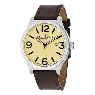 Stuhrling Original Men's Osprey Swiss Quartz Leather Strap Watch