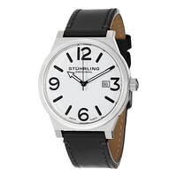 Stuhrling Original Men's Osprey Swiss Quartz Leather Strap Watch - black