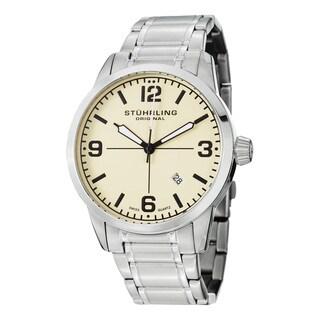 Stuhrling Original Men's Tuskegee Classic Swiss Quartz Leather Strap Watch - silver