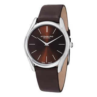 Stuhrling Original Men's Ascot Classic Swiss Quartz Leather Strap Watch