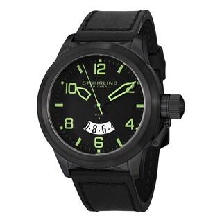 Stuhrling Original Men's Pilot Quartz Leather Strap Watch - black
