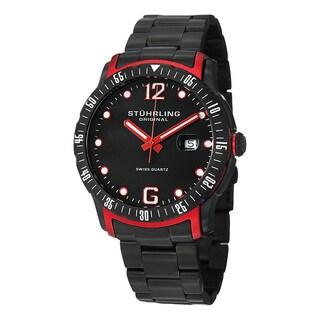 Stuhrling Original Men's Trofeo Swiss Quartz Stainless Steel Bracelet Watch - black