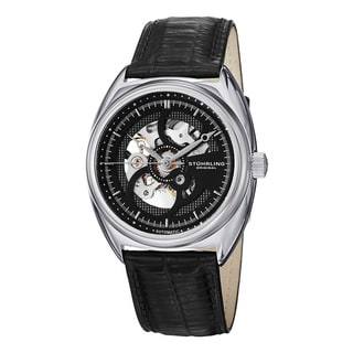 Stuhrling Original Men's Tandem Skeleton Automatic Leather Strap Watch