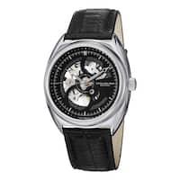Stuhrling Original Men's Tandem Skeleton Automatic Leather Strap Watch - black