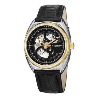 Stuhrling Original Men's Tandem Skeleton Automatic Leather Strap Watch