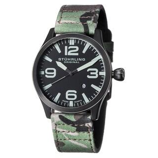 Stuhrling Original Men's Aviator Swiss Quartz Canvas Strap Watch