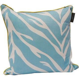 Zebra Print Cotton Twill Down Alternative 20-inch Square Decorative Pillow with Hidden Zipper and Contrast Piping