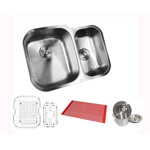 Ariel Pearl Satin 29-inch Stainless Steel Undermount 60/40 Offset Double Bowl Kitchen Sink Kit