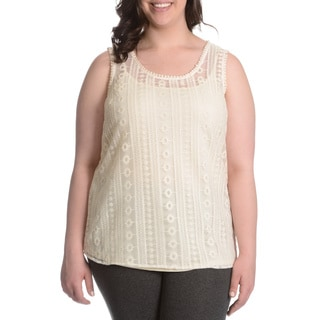 Adiva Women's Plus Size Crochet 2-fer Top
