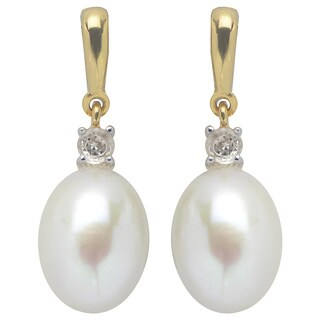 Pearls For You 14k Yellow Gold over Silver Freshwater Pearl and White Topaz Drop Earrings (9-10 mm)