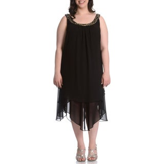 S.L. Fashions Women's Plus Size Beaded Neck Hanky Hem Dress