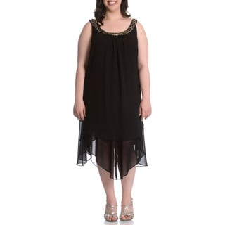 S.L. Fashions Women's Plus Size Beaded Neck Hanky Hem Dress