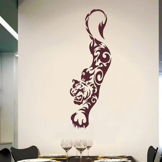 Tribal Tiger Vinyl Sticker Wall Art Burgundy