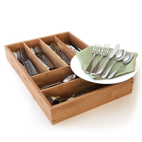 Oneida Flight 65-piece Stainless Steel Flatware Set with Bamboo Storage Caddy (Service for 12)