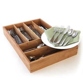 Oneida Flight 65-piece Stainless Steel Flatware Set with Bamboo Storage Caddy (Service for 12)|https://ak1.ostkcdn.com/images/products/10180705/P17307399.jpg?impolicy=medium