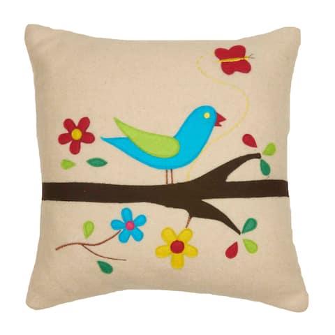 Chirping Bird Deco Throw Pillow