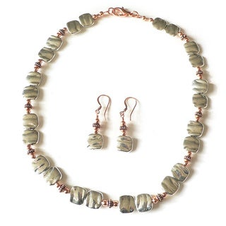 Palmtree Gems 'Dynamic Duo' Copper and Silver Necklace and Earrings Set